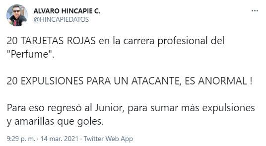 Álvaro Hincapié, Teófilo Gutiérrez, Atlético Nacional, Liga BetPlay 2021-I, tweet 1