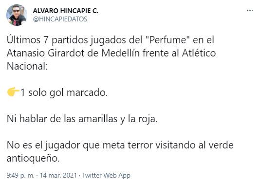Álvaro Hincapié, Teófilo Gutiérrez, Atlético Nacional, Liga BetPlay 2021-I, tweet 2