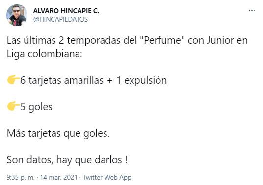 Álvaro Hincapié, Teófilo Gutiérrez, Atlético Nacional, Liga BetPlay 2021-I, tweet 3