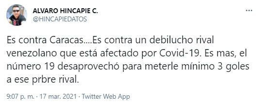 Álvaro Hincapié, Teófilo Gutiérrez, Junior FC, Caracas FC, Copa Libertadores 2021, tweet