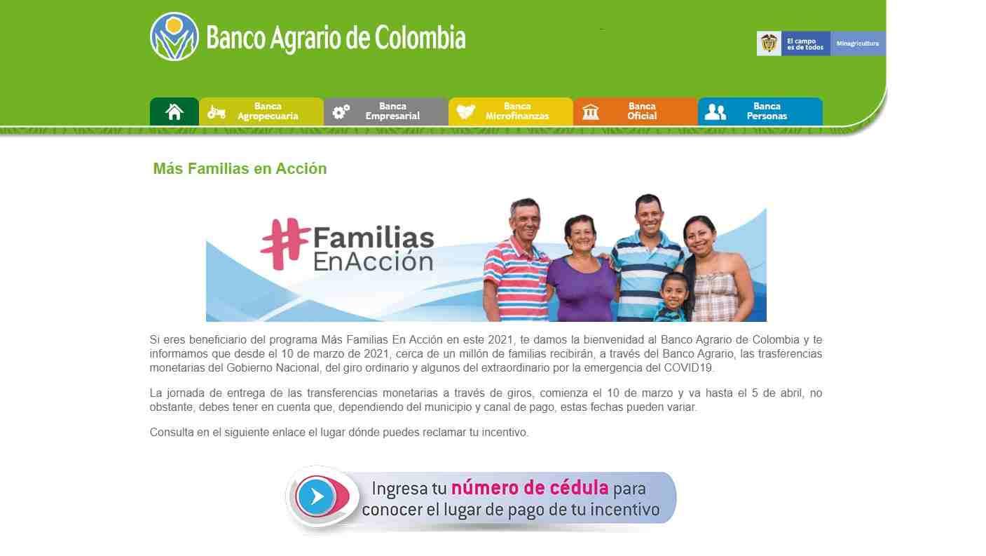 Consulta con cédula en Banco Agrario para Familias en Acción