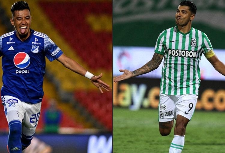 Fernando Uribe, Jéfferson Duque, Atlético Nacional, Millonarios FC, Liga BetPlay 2021-I, Viralgol