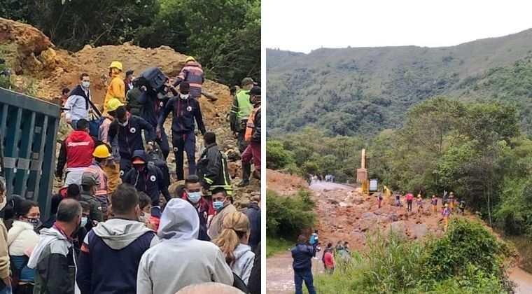Jugadores del Deportivo Pasto tuvieron que caminar sobre un derrumbe para viajar a Bogotá