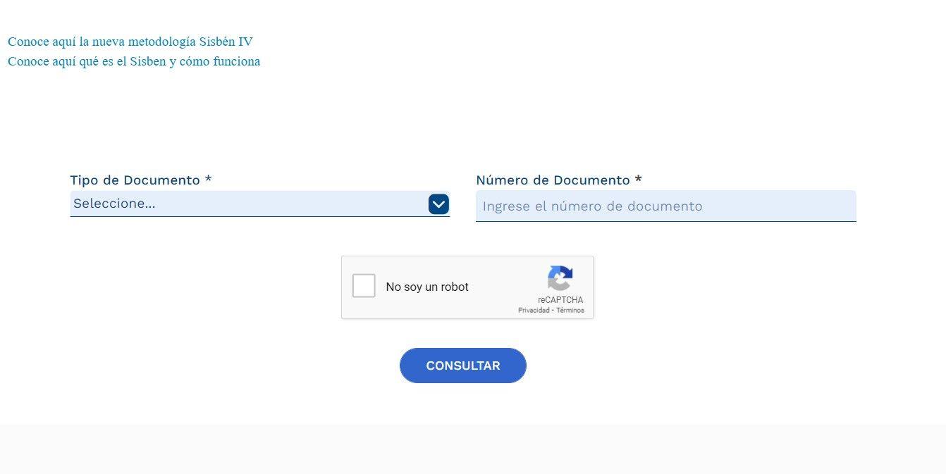 Así es el formulario de consulta del Sisbén IV