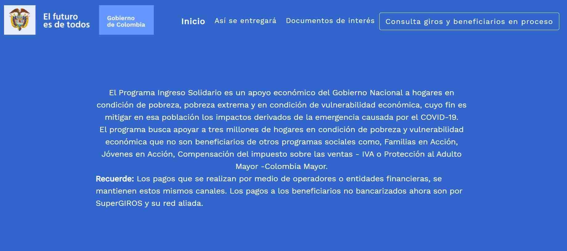 El mensaje nuevo que aparece en Ingresosolidario.prosperidadsocial.gov.co