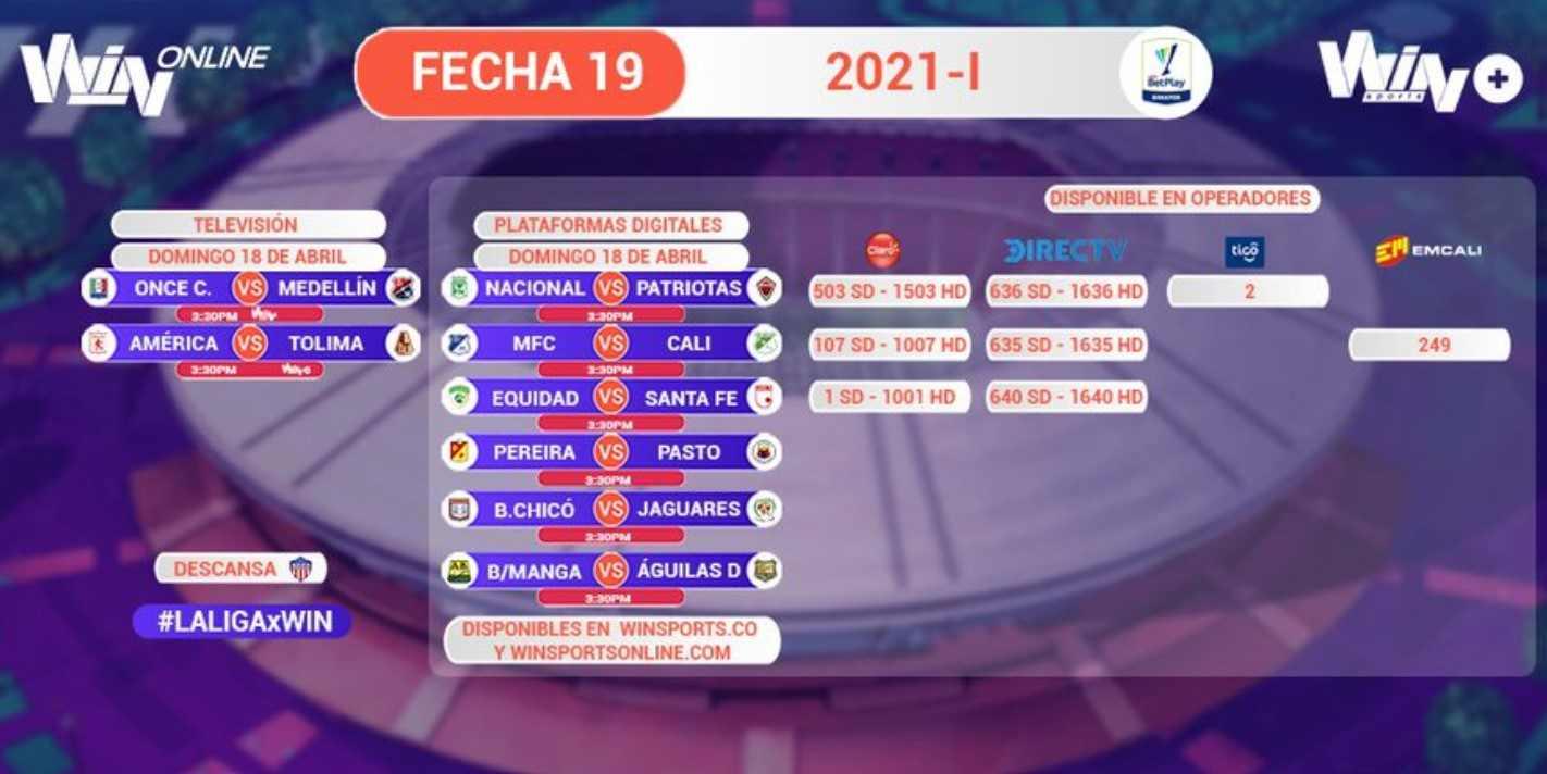 Habilitan más canales para ver la fecha 19 en WIN Sports