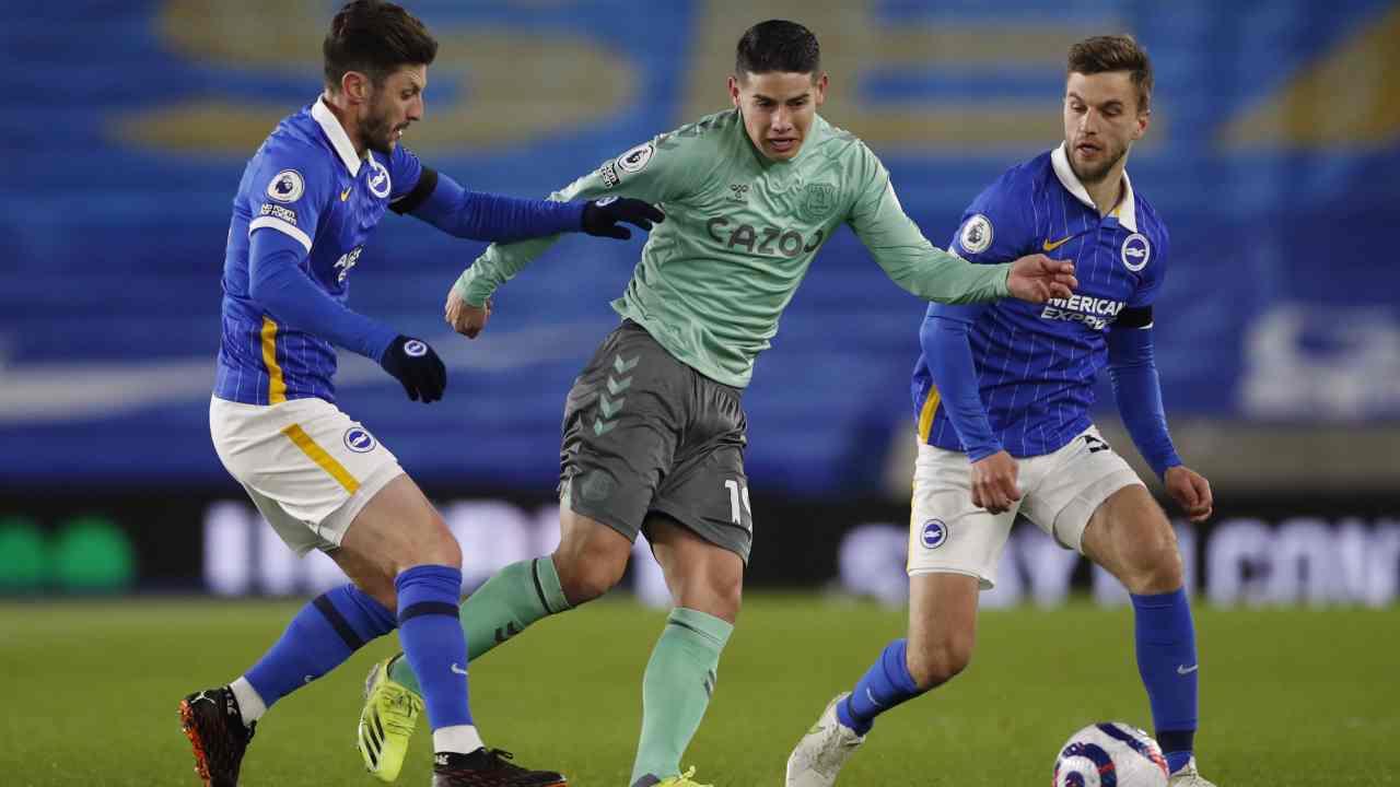 James Rodríguez jugó todo el partido en el apagado empate de Everton