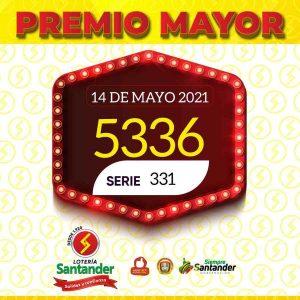 14 de mayo sorteo loteria santander resultado numero 5336 serie 331