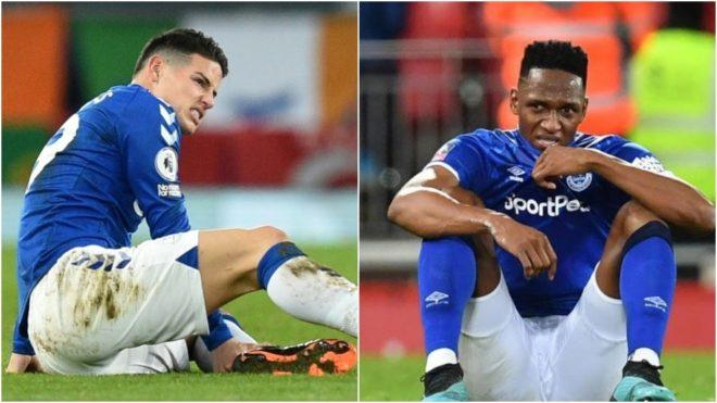 Ancelotti confirmó que James y Mina serán bajas de Everton para enfrentar a Aston Villa