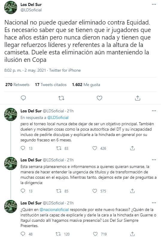 Los del Sur, Alexandre Guimarães, Atlético Nacional, Liga BetPlay 2021-I, tweet