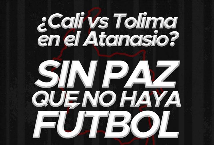 Barras que públicamente rechazaron la programación de Deportivo Cali vs. Deportes Tolima