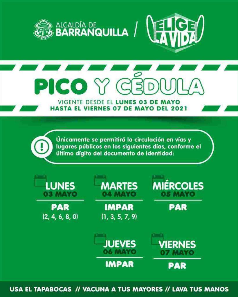 Pico Y Cedula En Barranquilla Martes 4 De Mayo De 2021