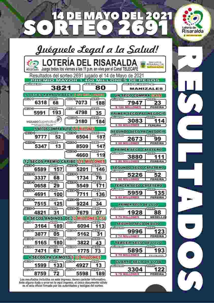 resultados 14 de mayo de 2021 en la loteria de risaralda sorteo 2691