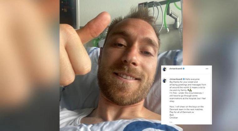 Primera imagen y reconfortante mensaje de Christian Eriksen tras salvarse de morir