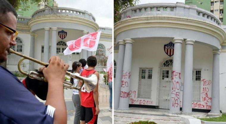 Hinchas del Junior vandalizaron la sede del equipo por la salida de Teófilo Gutiérrez