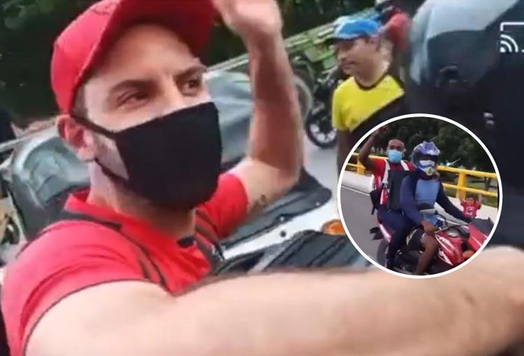 Jugadores de Junior y la llegada en moto al aeropuerto para el viaje a Rionegro