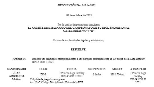 Juan Guillermo Arboleda, sanción, Deportivo Independiente Medellín, DIM, DaleRojo, Liga BetPlay 2021-II