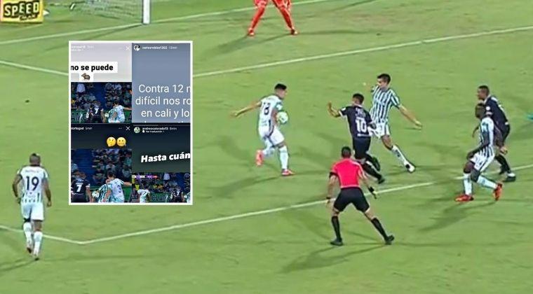 Jugadores del Deportivo Cali y sus airados reclamos por el arbitraje contra Nacional